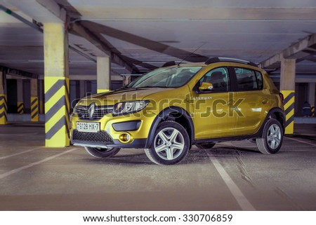MINSK, BELARUS - APRIL 22, 2015: Renault Sandero Stepway II at the test-drive event. Sandero Stepway's style carries the scent of adventure and freedom. This car is spacious, comfortable and robust.