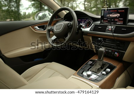 MINSK, BELARUS AUGUST 1, 2016: Audi A7 V6 TFSI Quattro at the test drive event for automotive journalists from Minsk