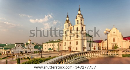 Minsk, Belarus - August 16, 2015: Cathedral of the Descent of the Holy Spirit - the main temple of the Belarusian Exarchate of the Russian Orthodox Church.