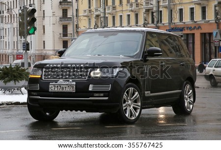 MINSK, BELARUS - DECEMBER 28, 2015: Land Rover Range Rover from Saint Petersburg, Russia