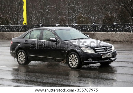 MINSK, BELARUS - DECEMBER 28, 2015: Mercedes-Benz C-Class