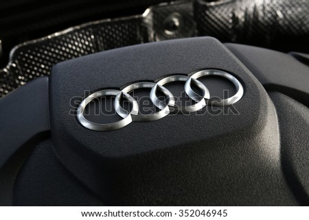 MINSK, BELARUS - DECEMBER 16, 2015: 2016 model year Audi A4 at the test drive event for automotive journalists from Minsk - stock photo
