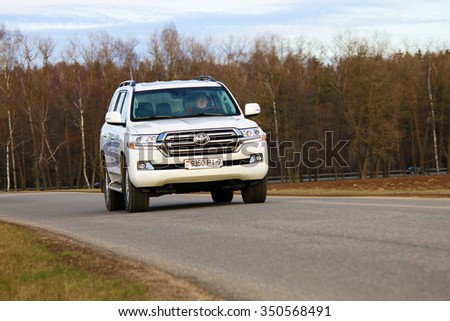 MINSK, BELARUS DECEMBER 6, 2015: New Toyota Land Cruiser at the test drive event  for automotive journalists from Minsk