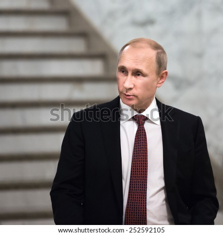 MINSK, BELARUS - Feb 12, 2015: Russian President Vladimir Putin after the negotiations of leaders of states in Normandy format in Minsk - stock photo
