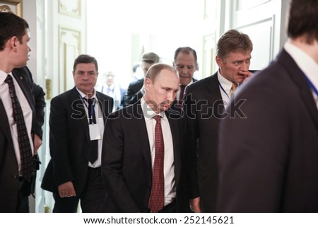 MINSK, BELARUS - Feb 12, 2015: Russian President Vladimir Putin and the Russian delegation after the talks of leaders of in the Norman format in Minsk