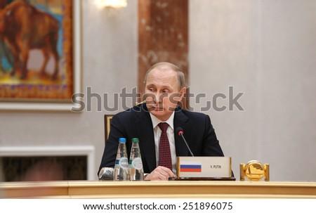 MINSK, BELARUS - Feb 11, 2015: Russian President Vladimir Putin before the negotiations leaders of states in Normandy format in Minsk - stock photo