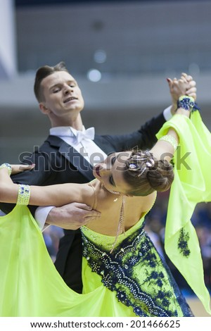 MINSK, BELARUS - FEB 23: Unidentified Dance Couple Performs Adult Standard European Program on Open Minsk WDSF Championship 2014 on February, 23, 2014, in Minsk, Republic of Belarus