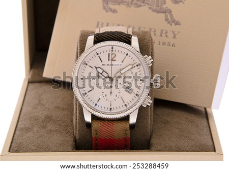Minsk, Belarus - February 12, 2015: Burberry Men's Watches Isolated