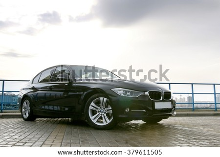 MINSK, BELARUS - FEBRUARY 19, 2016: New BMW 3-series 2016 at the test drive event for automotive journalists from Minsk