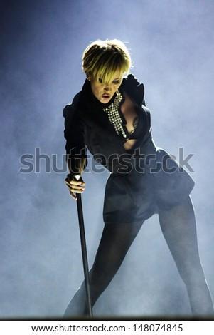 MINSK, BELARUS - FEBRUARY 13: Patricia Kaas performs live on February 13, 2010 in Minsk, Belarus - stock photo