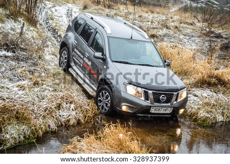 MINSK, BELARUS - JANUARY 30, 2015: Nissan Terrano III 4x4 MT at the test-drive event. Nissan Terrano III is based on Renault Duster platform. It is a compact SUV with great off-road capabilities.  - stock photo