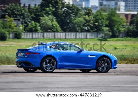 MINSK, BELARUS - JULY 1, 2016: Jaguar F-Type 3.0 Litre V6 380 Supercharged AWD at the test-drive. F-Types technical excellence gives it a breadth of capabilities to suit the demands of every driver.