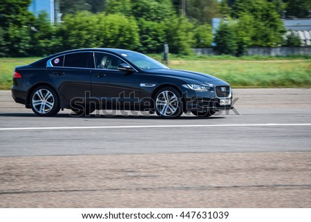 MINSK, BELARUS - JULY 1, 2016: Jaguar XE saloon at the test-drive. With its assertive looks and agile drive, the award-winning XE is instantly recognisable as a Jaguar.
