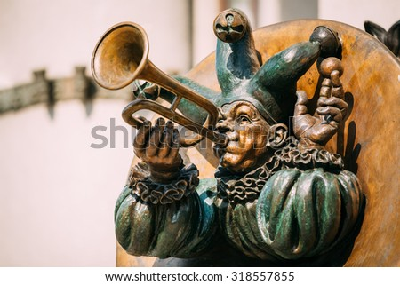 MINSK, BELARUS - June 2, 2015: Clown With Pipes sculpture near Building of the Belarusian State Circus on Independence Avenue in Minsk, Belarus.