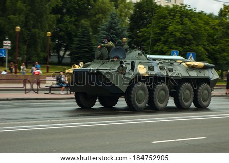 Minsk / Belarus - June 29, 2013: Convoy of the Russian military equipment. Preparation for the parade in honor of the Independence Day of the Republic of Belarus.  The BTR-80 carrier