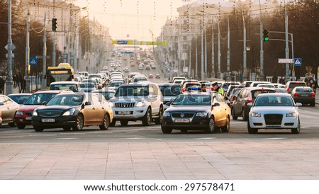 MINSK, BELARUS - MARCH 10, 2015: Busy Movement On Independence Avenue During Evening Time. Traffic Slow Moving On Street, Traffic Jam - stock photo