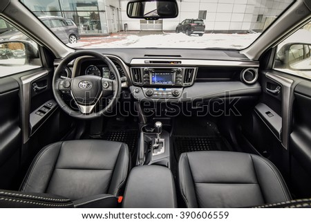 MINSK, BELARUS - MARCH 6, 2016: Refreshed 2016 model year Toyota RAV4 at the test drive in Minsk, Belarus. Photo of the interior.