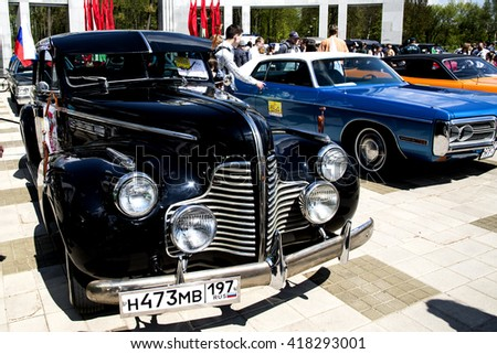 MINSK, BELARUS - MAY 07, 2016: Exhibition of retro and vintage cars.