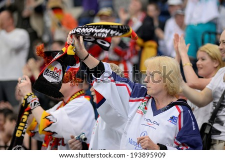 MINSK, BELARUS - MAY 20: Fans of Germany celebrates during 2014 IIHF World Ice Hockey Championship match on May 20, 2014 in Minsk, Belarus