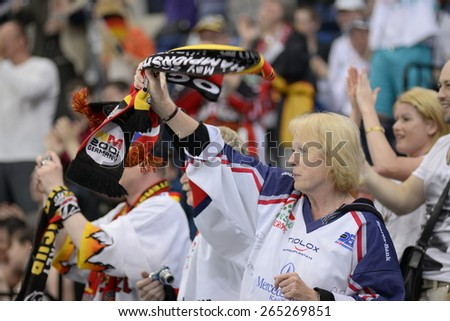 MINSK, BELARUS - MAY 20: Fans of Germany during 2014 IIHF World Ice Hockey Championship match at Minsk Arena on May 20, 2014 in Minsk, Belarus.