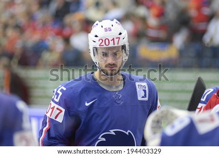 MINSK, BELARUS - MAY 22: JANIL Jonathan of France looks on during 2014 IIHF World Ice Hockey Championship quarterfinal match on May 22, 2014 in Minsk, Belarus.