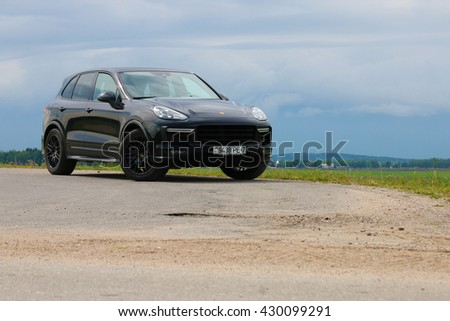 MINSK, BELARUS MAY 25, 2016: New Porsche Cayenne GTS at the test drive event for automotive journalists from Minsk
