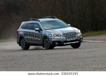 MINSK, BELARUS NOVEMBER 11, 2015: New Subaru Outback at the test drive event for automotive journalists from Minsk - stock photo
