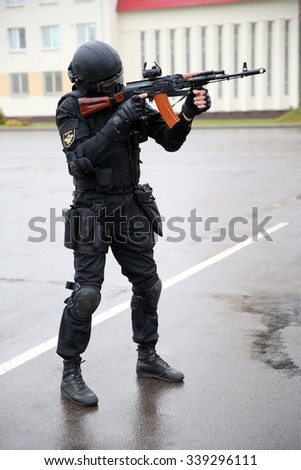 MINSK, BELARUS - NOVEMBER 12, 2015: Special police unit OMON officer demonstrates new uniform in Minsk, Belarus
