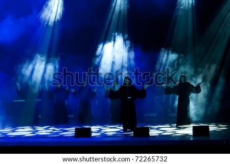 MINSK, BELARUS - OCTOBER 24: Gregorian, Music show of German band Gregorian in Minsk, on October 24, 2010, in Minsk, Belarus - stock photo
