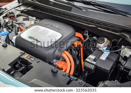 MINSK, BELARUS - OCTOBER 4, 2014: Kia Soul EV motor. The Soul EV is powered by a 27 kWh usable capacity (30.5 kWh size) lithium-ion polymer battery pack and CHAdeMO fast charging capability