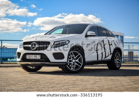 MINSK, BELARUS - OCTOBER 6, 2015: 2015 model year Mercedes-Benz GLE 400 4Matic Coupe at the test drive. GLE 400 4Matic Coupe is powered by 3.0 liter twin-turbo V6, which produces 333 hp of power.