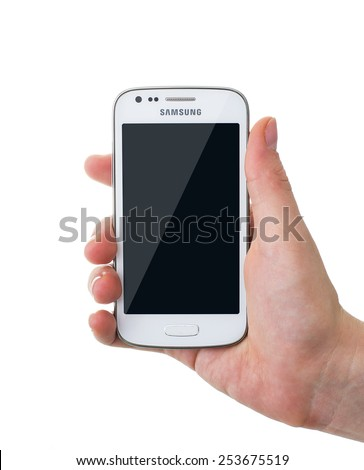 Minsk, Belarus - October 20, 2013: Phone Samsung Galaxy Ace 3 in a female hand - stock photo