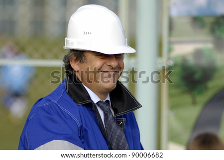 MINSK, BELARUS - OCTOBER 04: UEFA President Michel Platini attends a construction work commencement of a building of the National Football Team Training Center on October 04, 2011 in Minsk, Belarus