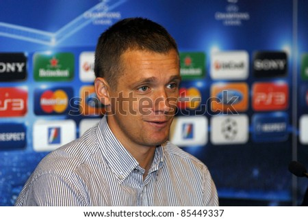MINSK, BELARUS - SEPTEMBER 27: Coach the football team BATE - Viktor Goncharenko at a press conference before the game with a team of Barcelona on September 27, 2011 in Minsk, Belarus