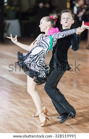 Minsk,Belarus-September 26,2015:Degilevich Artem and Golub Kseniya Perform Juvenile-1 Latin-American Program on World Dance Championship Capital Cup Minsk- 2015 on September 26, 2015, in Minsk,Belarus