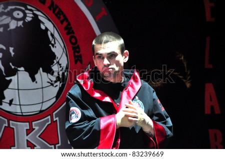 MINSK, BELARUS-SEPTEMBER 12:Kickboxer Harvey from Australia  at BIG8 MUAY-THAY CHAMP in Minsk, Belarus on September 12, 2010 - stock photo