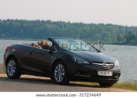 MINSK, BELARUS - SEPTEMBER 03, 2015: Opel Cascada at the test drive event for automotive journalists from Minsk