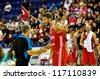 MINSK, BELARUS SEPTEMBER 2: Semih Erden (Turkey 9) has  a talk with unidentified referee during European Championship qualifying match (Belarus-Turkey) on September 2, 2012 in Minsk, Belarus - stock photo