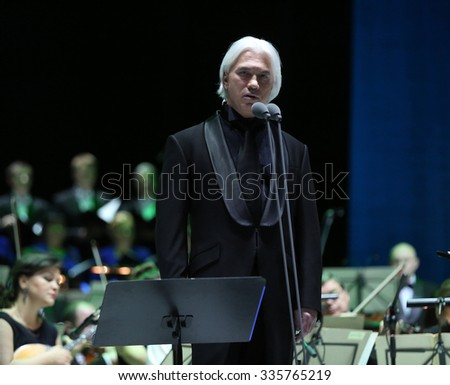 MINSK, NOVEMBER 05, 2015: a Russian operatic baritone Dmitri Hvorostovsky performs in The Palace of the Republic, Minsk, Belarus