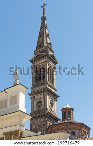 Minster bell-tower, Alessandria, Italy. detail of high bell-tower of the Cathedral, shot in bright light  - stock photo