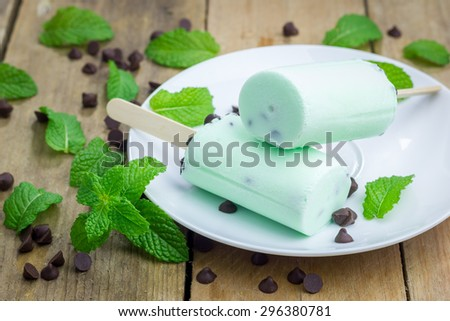 Mint and chocolate chips yogurt popsicles - stock photo