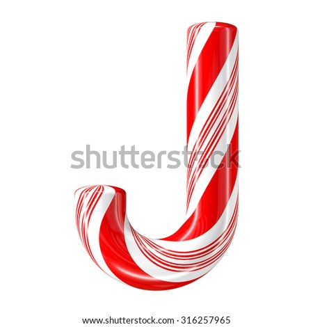 Mint hard candy cane 3d alphabet collection striped in Christmas colours. Letter J. - stock photo