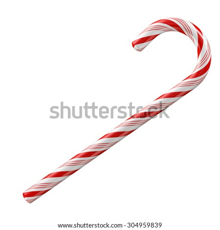 Mint hard candy cane striped in Christmas colours isolated on a white background. - stock photo