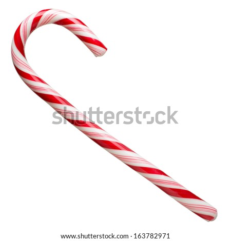 Mint hard candy cane striped in Christmas colours isolated on a white background. Closeup.  - stock photo