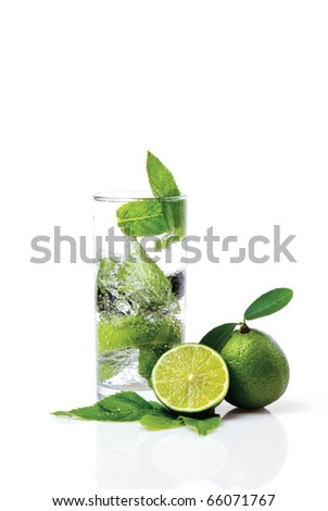 mint leaf and Stack of stones - stock photo