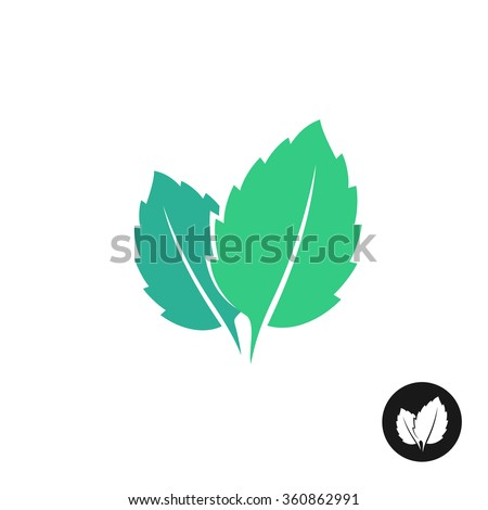 Mint leaves logo. Two leaves of a mint with one color black version. - stock photo
