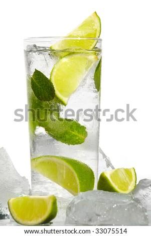 Mint, lime ice mojito - stock photo