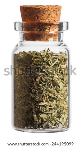Mint spice in a little bottle isolated on white background - stock photo