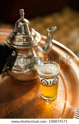 Mint tea in Morocco - stock photo