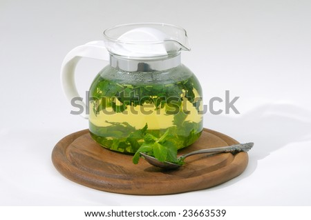 mint tea in teapot